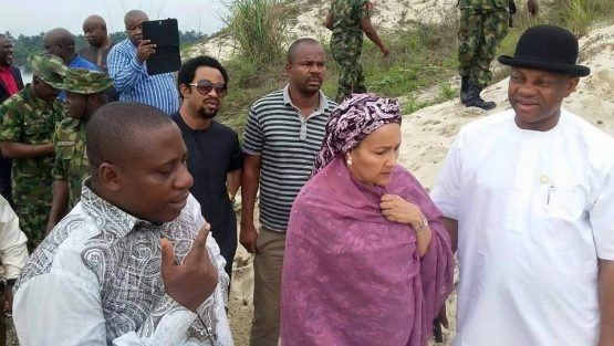 Photos: Celestine AkpoBari on a tour of polluted site in Ogoni with Mrs Amina Mohammed, Brigadier Gen. Boro-SA to the President on Amnesty program and some senior government officials